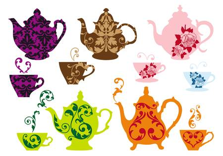 steam of a leaf: vintage tea pots and cups with baroque pattern Illustration