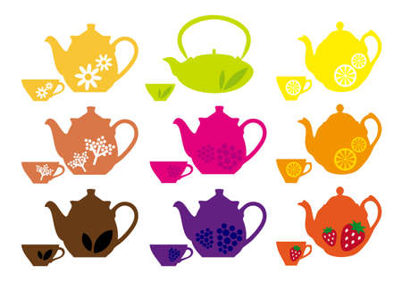 chinese tea cup: set of tea pots and cups with different fruits