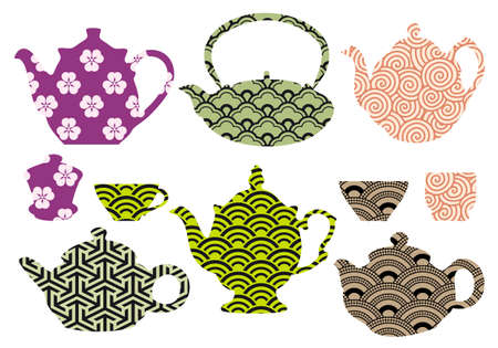 set of tea pots and cups with  japanese and chinese pattern Illustration