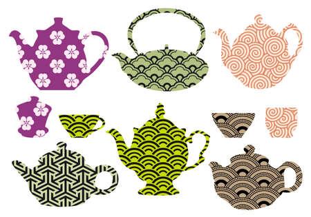 chinese tea cup: juego de teteras y tazas con el patr�n japon�s y chino