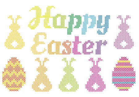 sewn: Happy Easter with cross stitched embroidery pattern, vector  Illustration