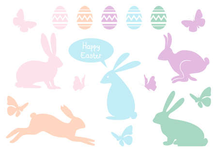 Happy Easter with bunnies, eggs and butterflies, vector design elements Vector