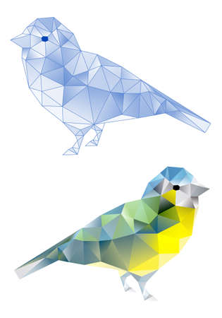birds with abstract geometric polygon triangle pattern, vector  Stock Vector - 18384374
