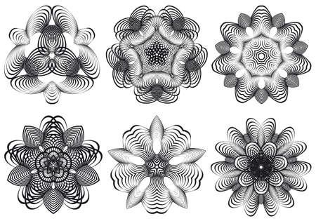 dibujos lineales: Conjunto de flores abstractas geométricas, elementos de diseño vectorial Vectores