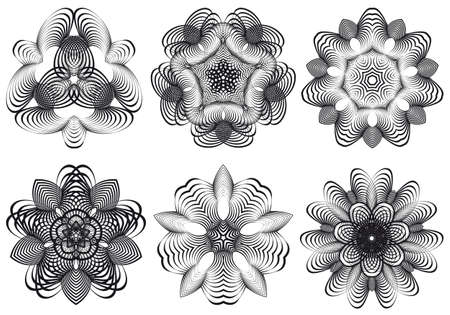 symmetric: Set of abstract geometric flowers, vector design elements