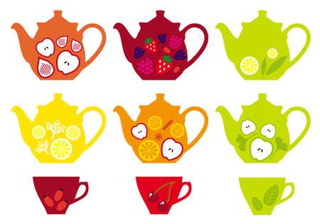 feuille de figuier: ensemble de théières et tasses avec un mélange de fruits Illustration