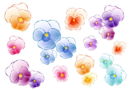 set of colorful pansy flowers, vector design elements