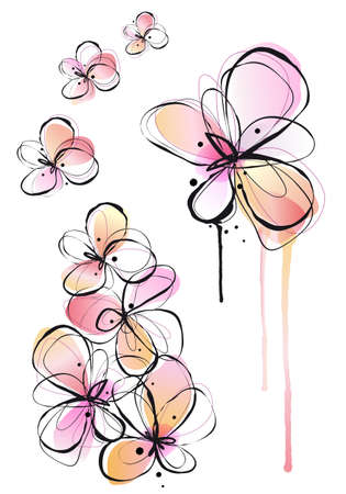 scribble: abstract ink and watercolor flowers, vector background