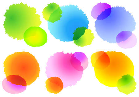 set of abstract colorful watercolor splashes, vector design elements