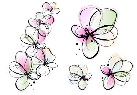 green ink: abstract ink and watercolor flowers, vector background