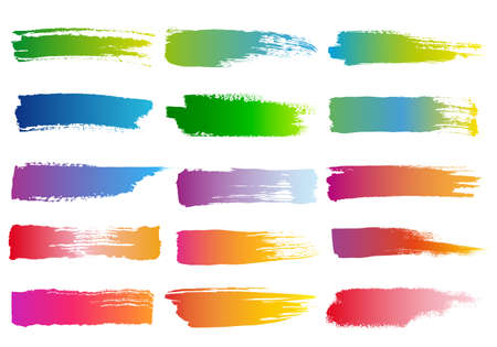 set of abstract colorful watercolor brush strokes, vector design elements Illustration