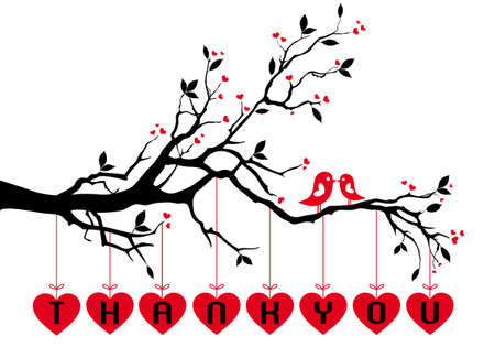 Cute love birds on tree branch with red hearts,  background Ilustração