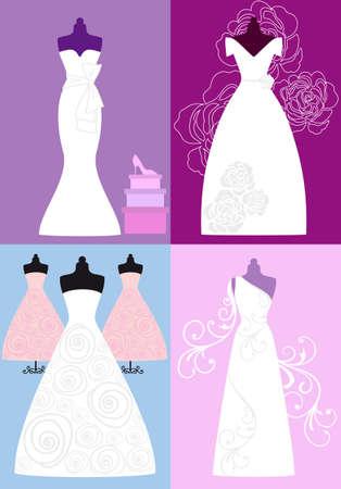 frau dusche: Hochzeitskleider, Brautkleider, Mode-Illustration Illustration
