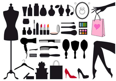 red lipstick: fashion and beauty, set of design elements Illustration