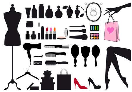 fragranza: moda e bellezza, insieme di elementi di design Vettoriali