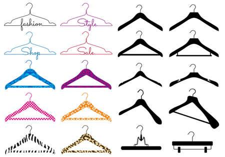 ropa colgada: conjunto de diferentes colgador de ropa, elementos de dise�o vectorial Vectores
