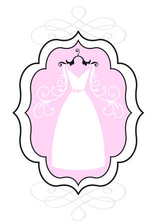 wedding dress in vintage picture frame, bridal shower, vector Vector