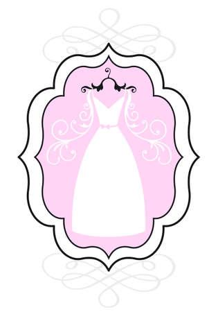 bridal gown: wedding dress in vintage picture frame, bridal shower, vector