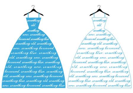 suknia ślubna: dress Å›lub z tekstowym coÅ› kolorze niebieskim, o ilustracji vector Ilustracja