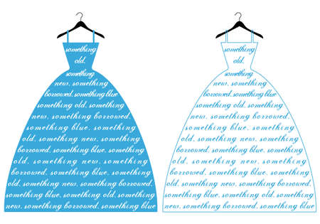 bridal gown: wedding dress with text something blue, vector illustration