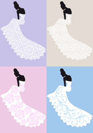 wedding dress back: woman in wedding dress, bridal shower, vector illustration Illustration