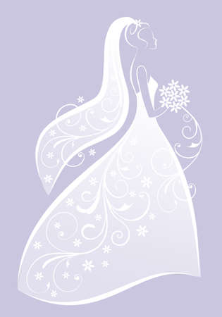 bridal bouquet: bride in bridal gown, wedding dress, bridal shower, vector illustration
