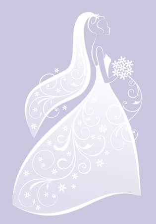 bride in bridal gown, wedding dress, bridal shower, vector illustration