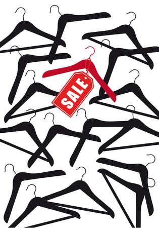 kleerhanger met rode verkoop tag, vector achtergrond Vector Illustratie