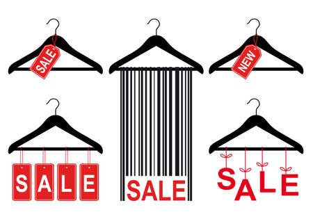 retail equipment: set of clothes hanger with sale tags, vector design elements