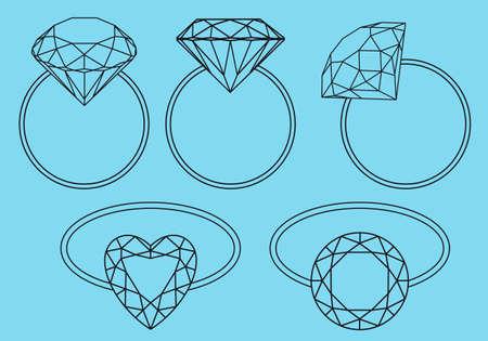 diamond jewelry: anelli di brillanti, anelli di fidanzamento con diamante, vector set