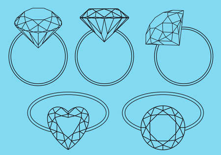 solitaire: brilliant rings, diamond engagement rings, vector set