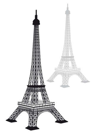 Eiffel tower silhouette, detailed drawing, vector illustration Illustration