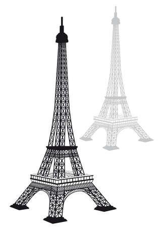 eiffel tower: Silueta de Torre Eiffel, un dibujo detallado, ilustraci�n vectorial