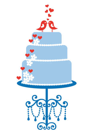 wedding cake: wedding cake with cute birds, vector illustration Illustration
