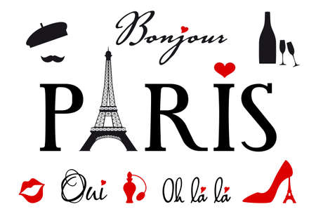 Paris with Eiffel tower, set of design elements Vector