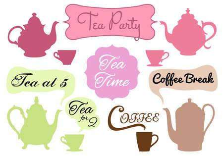 word art: t� y caf� con arte de la palabra en los marcos, conjunto
