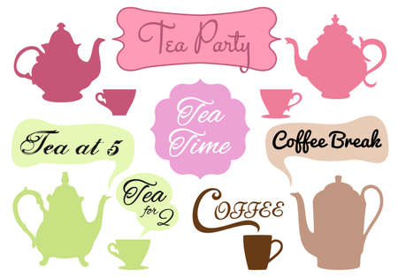 tea time: tea and cofee with word art in frames, set