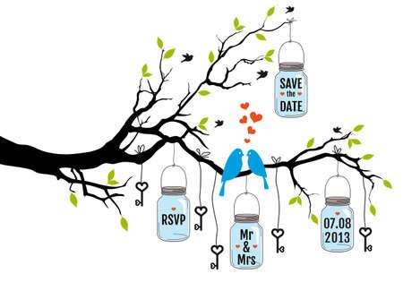 dattel: Save the date, Hochzeitseinladung mit V�geln, Gl�ser und Schl�ssel Illustration