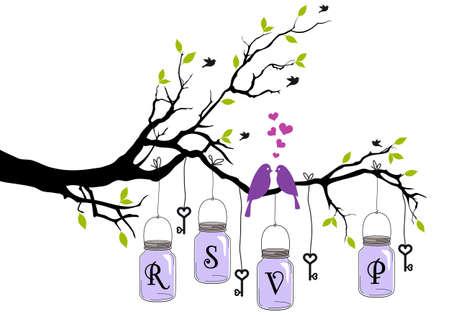 düğün: RSVP, kuşlar, kavanoz ve tuşları ile düğün davetiyesi, vektör