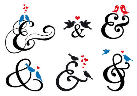ampersand sign with cute birds, vector design elements  Ilustração
