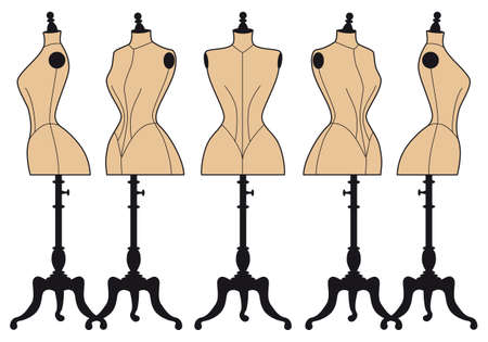 set form: set of vintage fashion mannequins, vector design elements