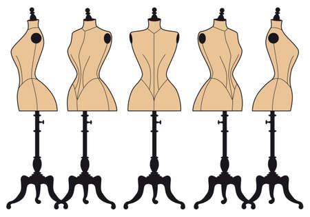 bust: set of vintage fashion mannequins, vector design elements
