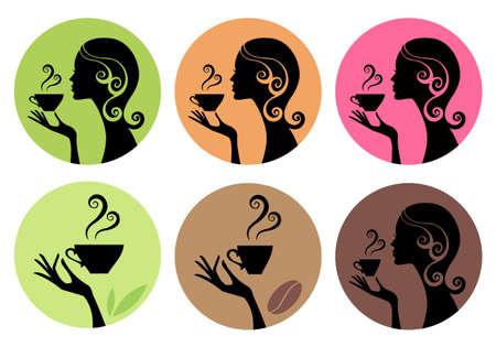 mujer tomando cafe: mujer bebiendo café y té, conjunto de vectores