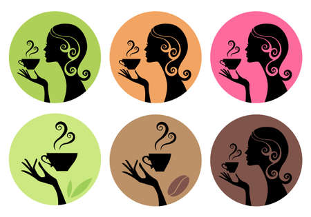 green coffee beans: woman drinking coffee and tea, vector set Illustration