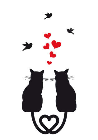 silueta de gato: gatos en el amor con corazones rojos y aves ilustración Vectores