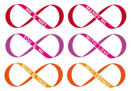 signo infinito: interminable amor, signo de infinito, s�mbolo del infinito, conjunto de vectores Vectores