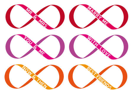 endless: never ending love, infinity sign, endless symbol, vector set Illustration