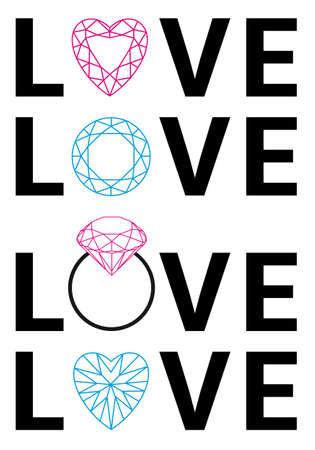 diamond love with hearts and gemstones, vector set Vector