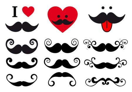 curly mustache set, vector design elements Stock Vector - 20887277