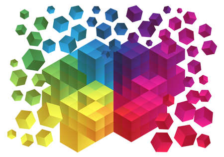 Abstract cubes background, geometric polygon design